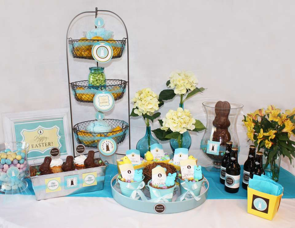Chocolate Bunny Easter Party - Chocolate Bunny, turquoise, yellow and white