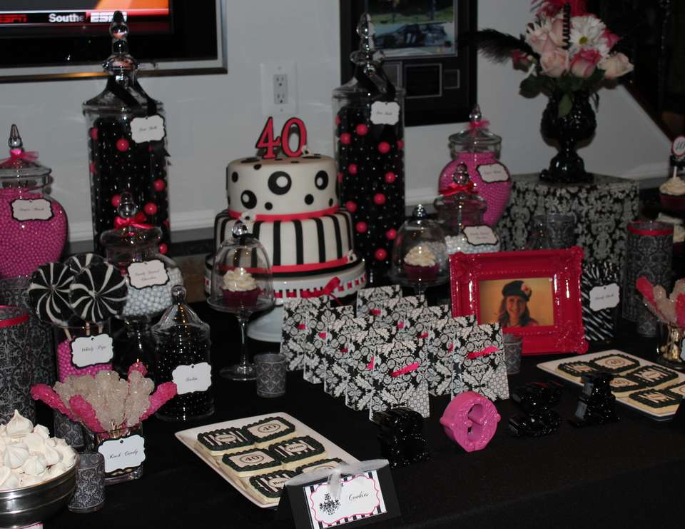 Surprise 40th Birthday Party - Black, White & Pink