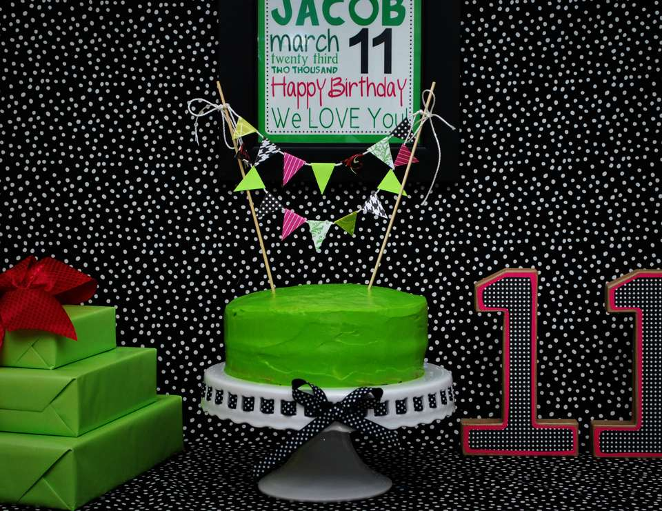 Jacob's Birthday Dinner - Neon green, black and pink