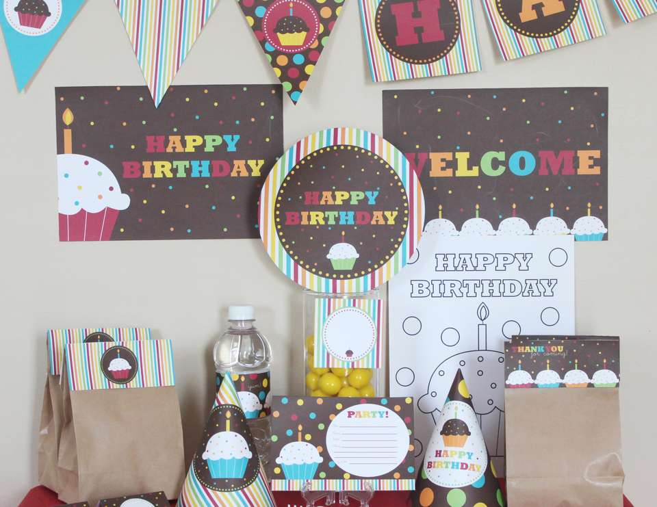 Rainbow Cupcake Birthday Printable Party Kit - None