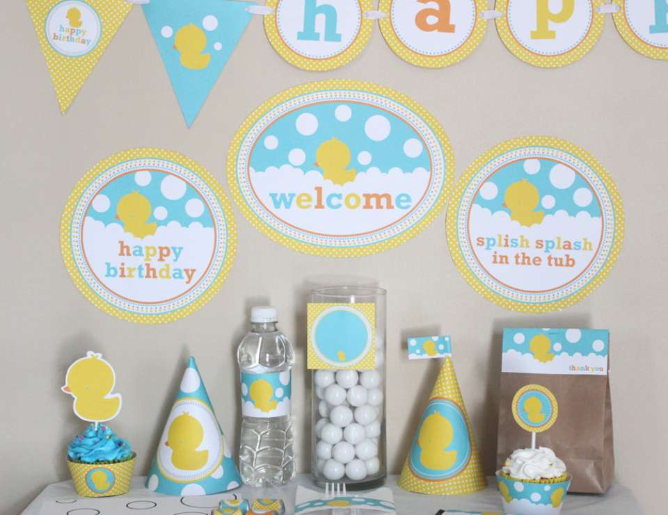 Rubber Ducky (Duckie) Birthday Printable DIY (Do It Yourself) Party Kit - None