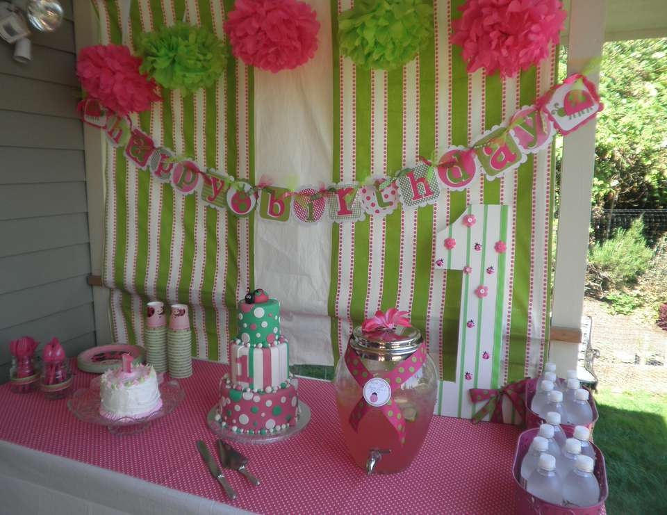 Oh So Sweet 1st Birthday Party - Hot pink and Lime Lady bug