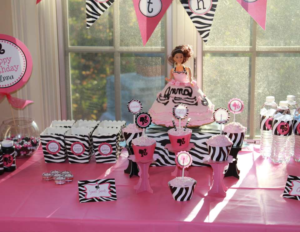 Hot Pink Barbie and Zebra Print Birthday Party - Vintage Barbie Silhouette Birthday party