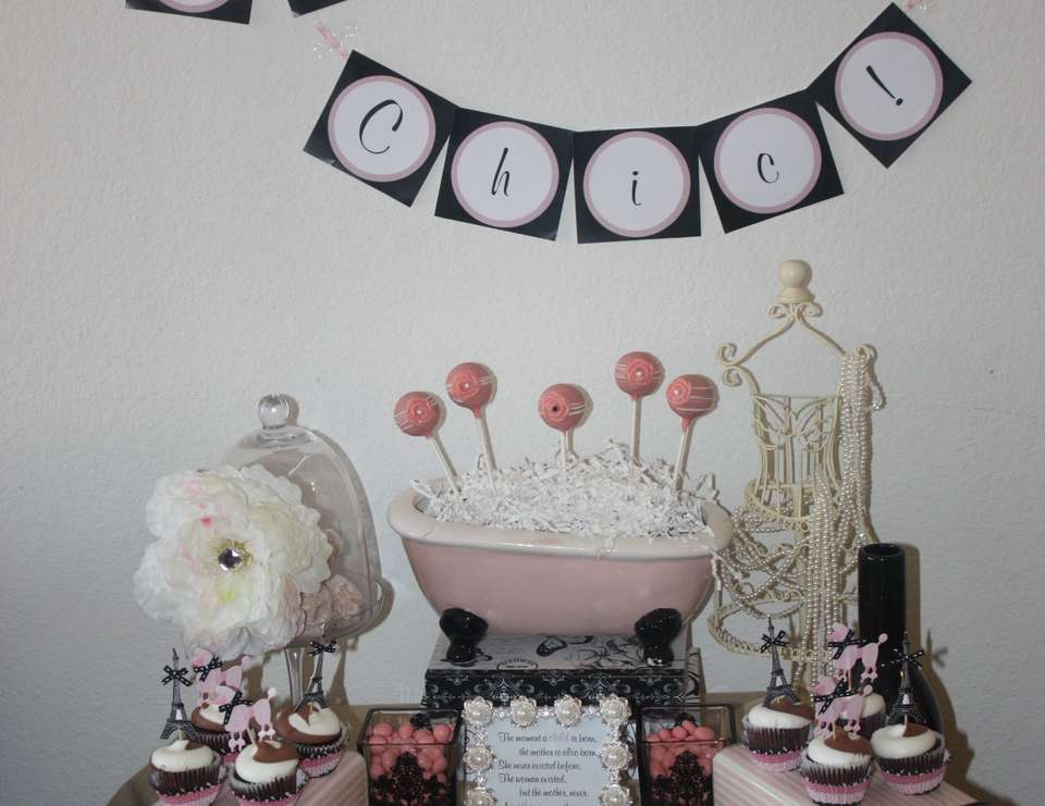 Elizabeth's Sweet Baby Shower - Parisian, French, Paris, Pink, Pink And Black, Pearls, Tres Chic