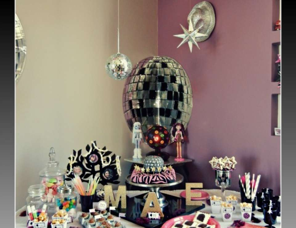 Pop star birthday party, a little Monster high - pop star, monster high, disco ball, glitter, pink, rock star, glam chic