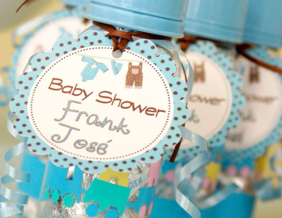 Brown and Blue Boy Baby Shower - Brown and Blue clothes and airplane