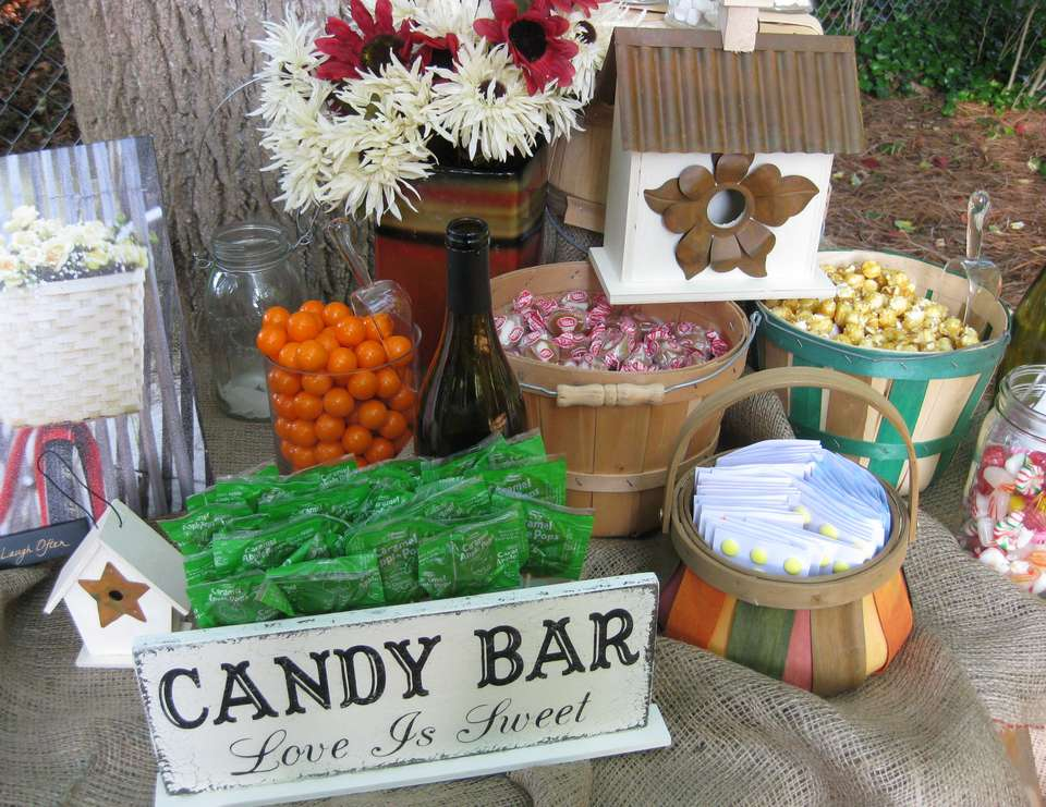 Rustic Outdoor Candy Buffet - Rustic Outdoor