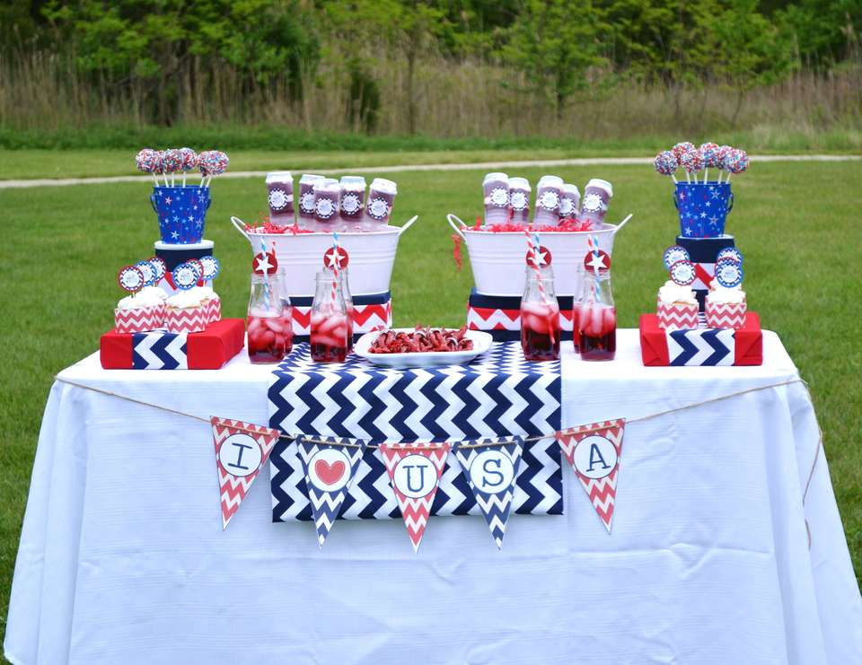 4th of July Chevron Party - Red, White and Blue USA July 4th