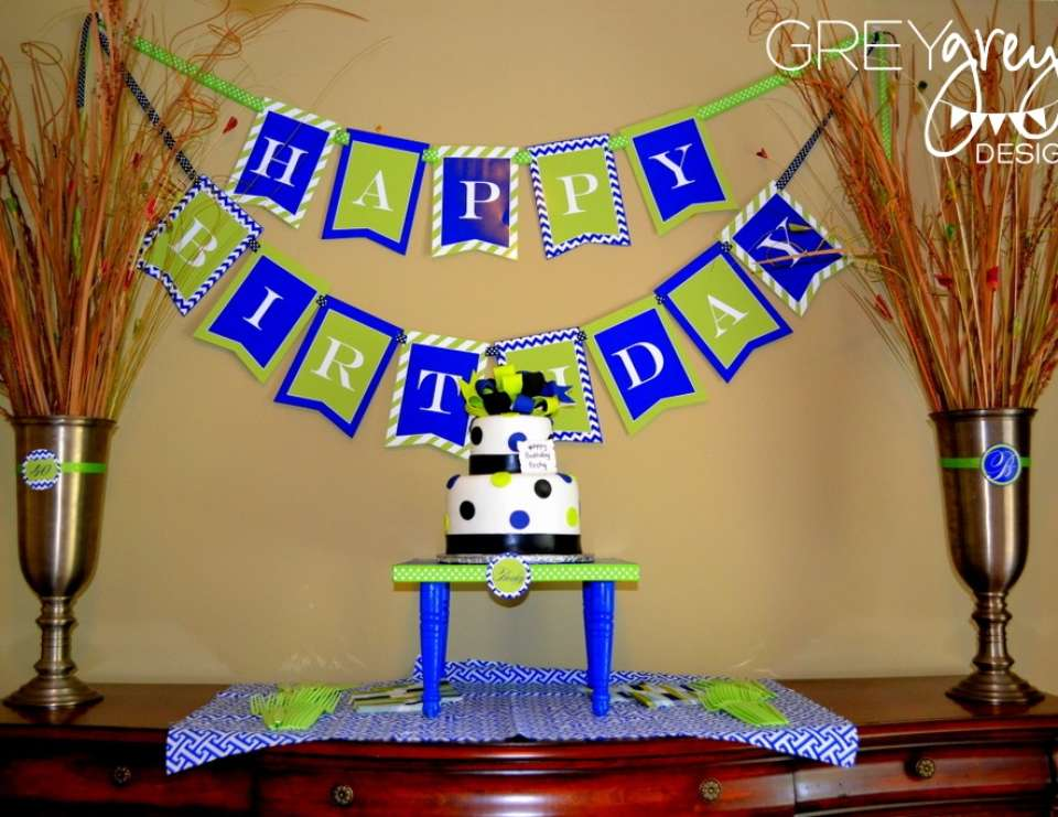 Lime Green and Navy 40th Birthday - None