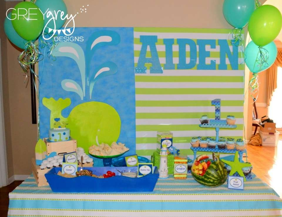 Aiden's Green Whale 1st Birthday Party - None