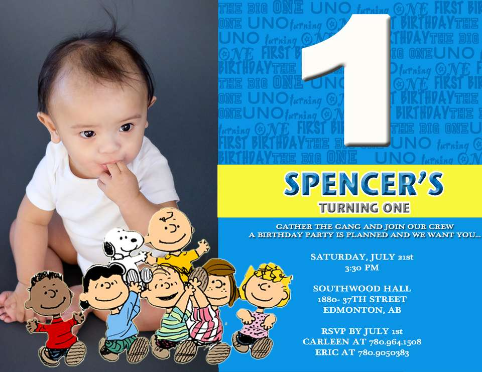 Spencer's 1st Birthday PArty - Snoopy and the gang