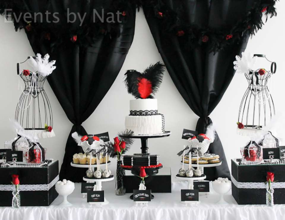 Roaring 20s Birthday Roaring 1920s Black White and Red Dessert