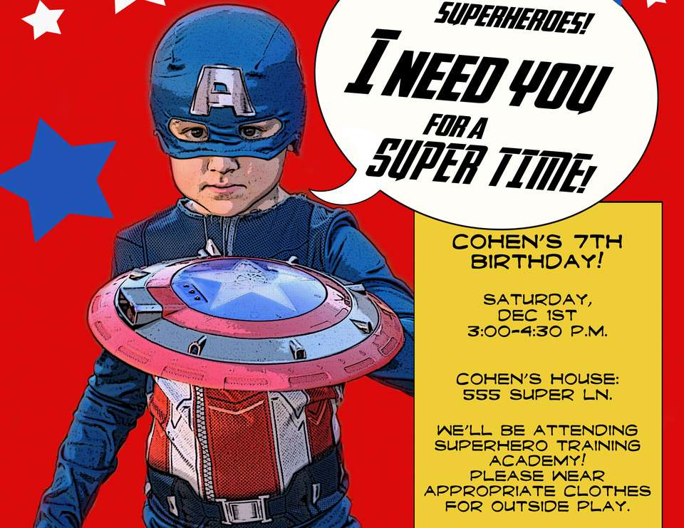 Captain America Birthday Party - Captain America - Super Hero Training Academy