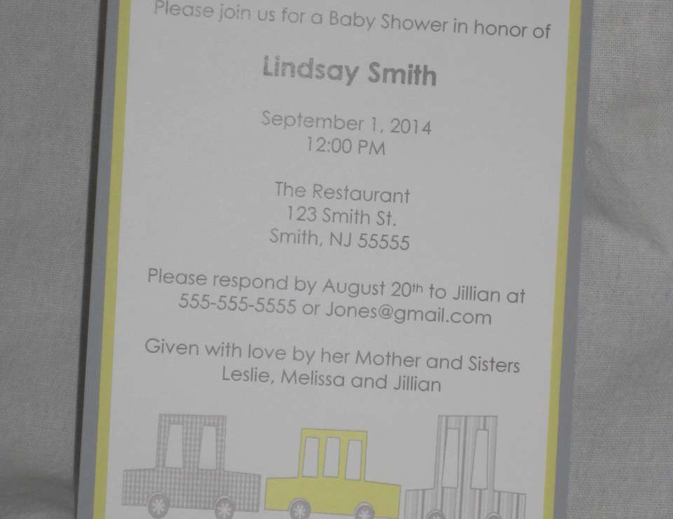 Yellow and Gray Car Baby Shower - Yellow and Gray Car Baby Shower