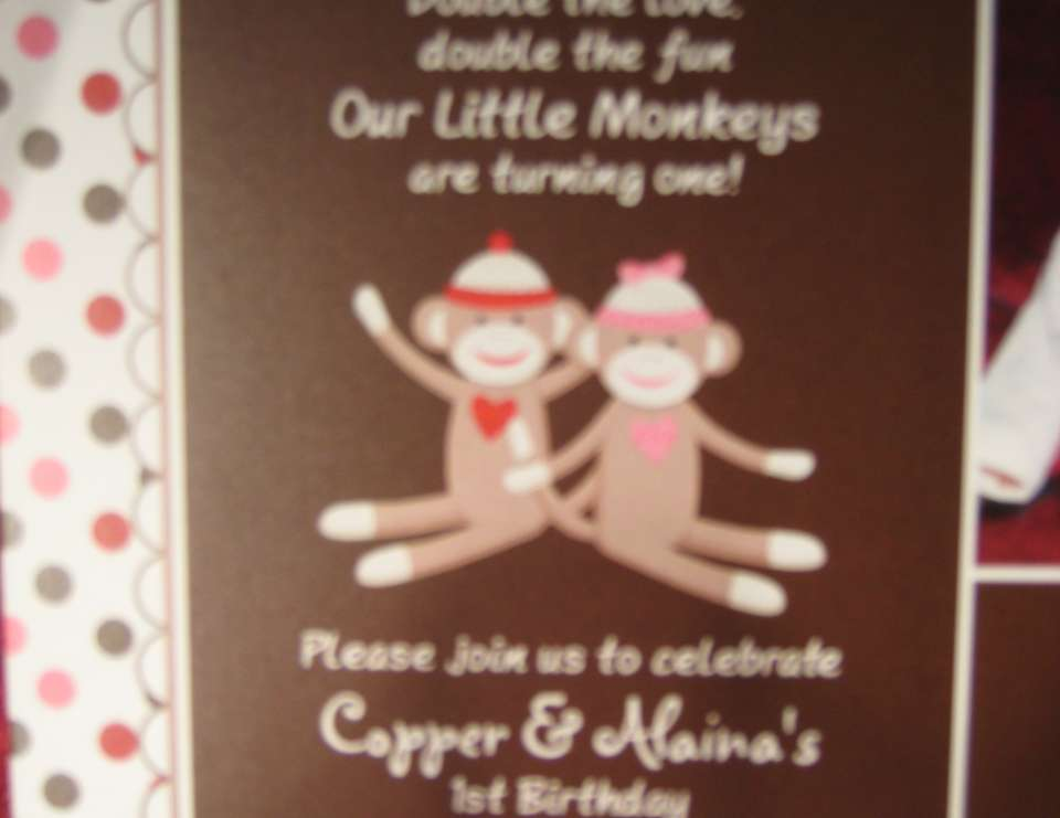 Twin's First Birthday - Twin Sock Monkey Party