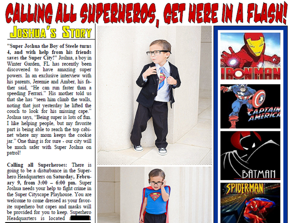 Super J Turns 4!  - Superheros