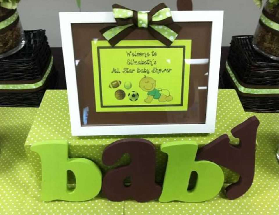 All-Star Baby Shower - Lime & Brown