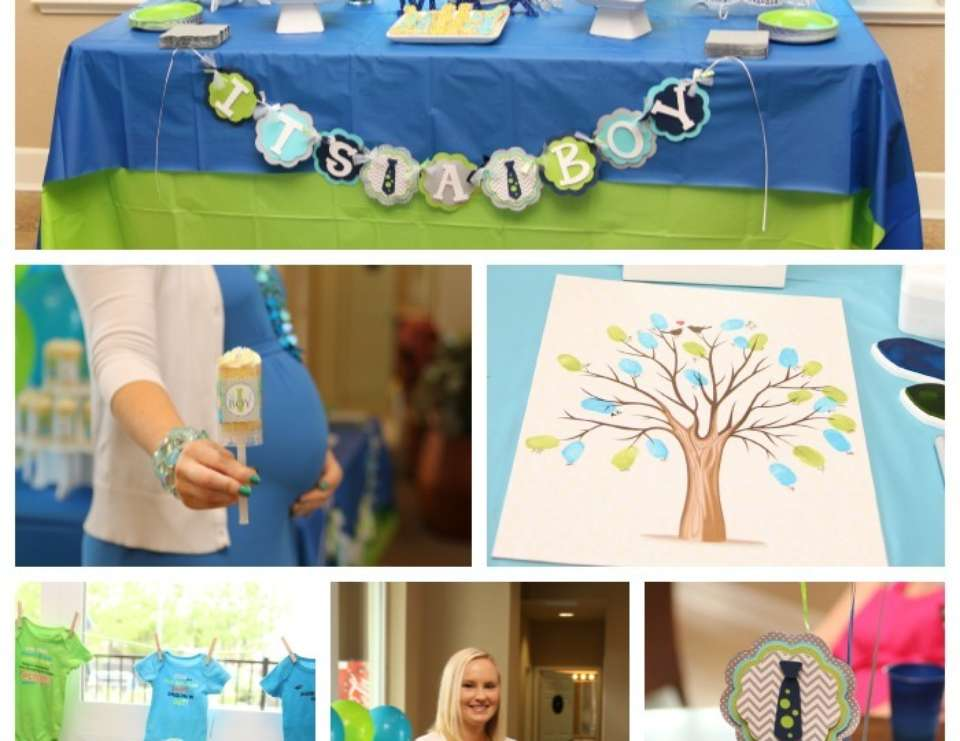 A Baby Shower Fit for a Little Gentleman - Lime Green & Aqua Blue Necktie Little Man Shower