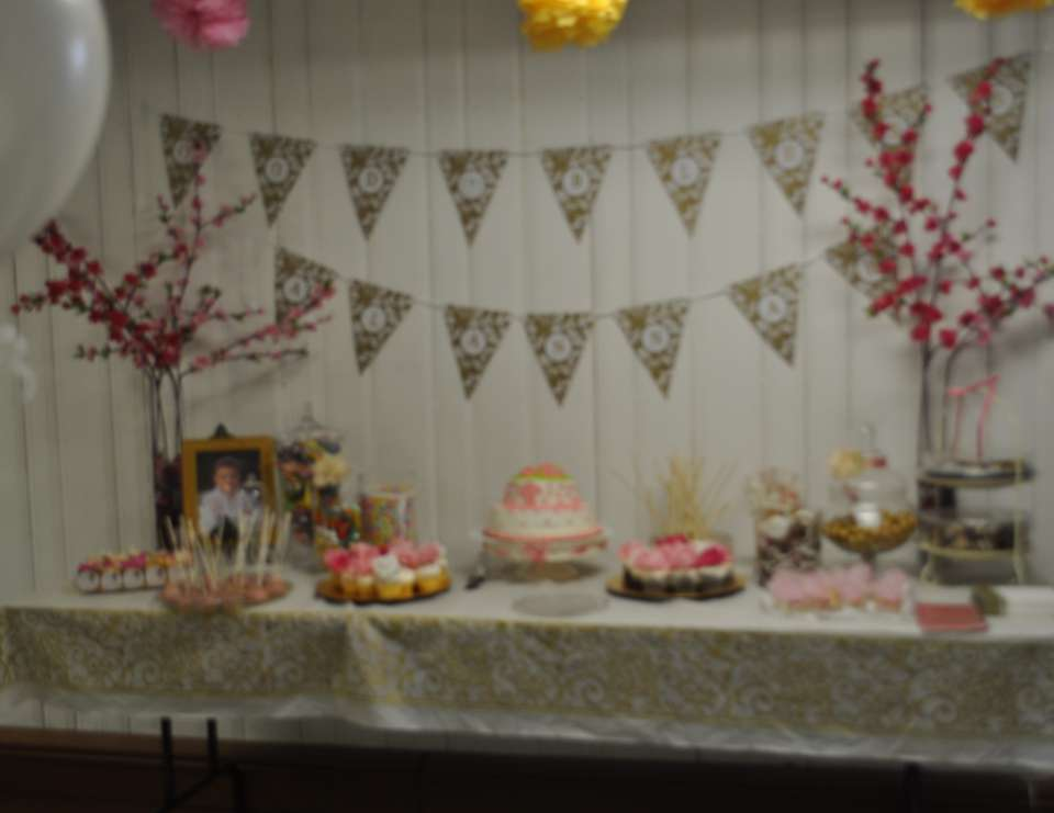 Alannah's Pink and Gold Baptism - Pink and Gold Damask