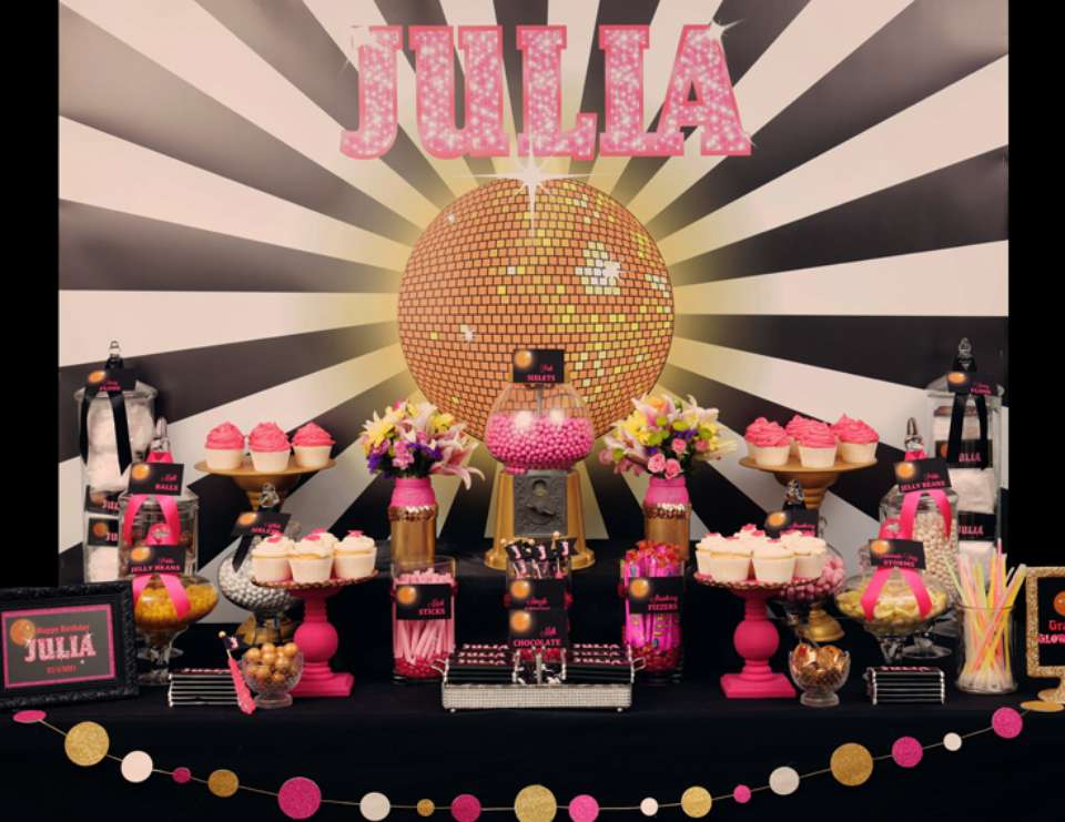Julia's Glam Disco 12th Birthday Party - Black, white, hot pink and gold glitter and glam