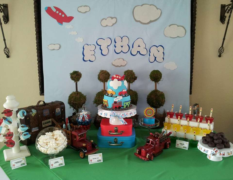 Ethan's First Birthday - Airplanes, Trains and Automobiles