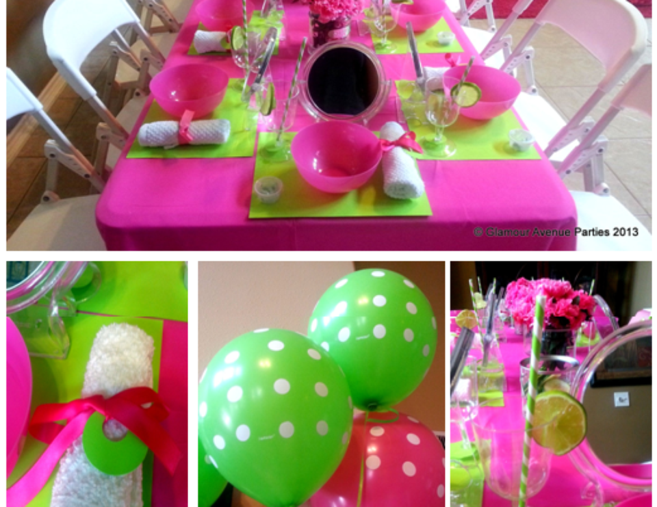 Preppy Pink and Green Birthday Party - Spa Party