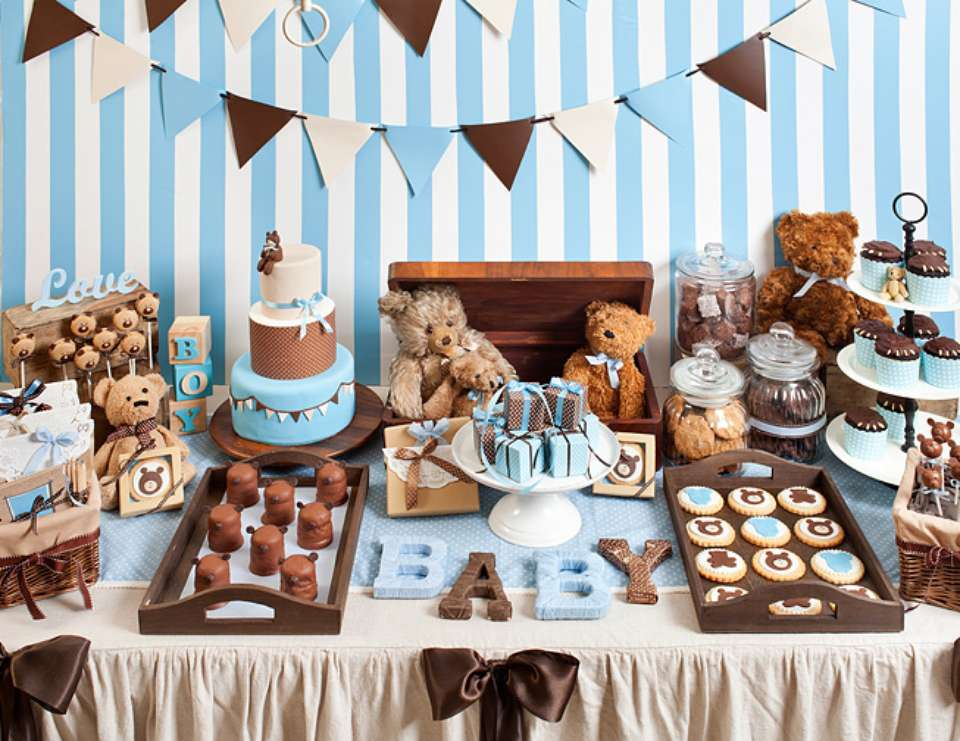 Teddy Bear baby shower - Blue and brown teddy bears