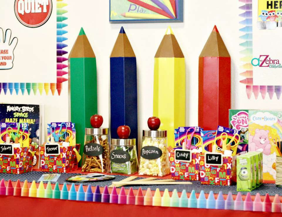 Back to school back to school party ideas catch my party for Back to school decoration ideas