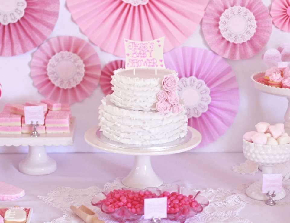 Pretty Pink & Vintage Doyley Baby Shower - Shades of pink and vintage doyley