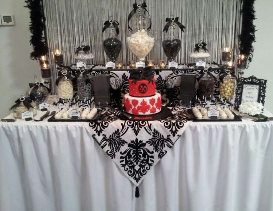 89 Red Black And White 40th Birthday Decorations Red Black White