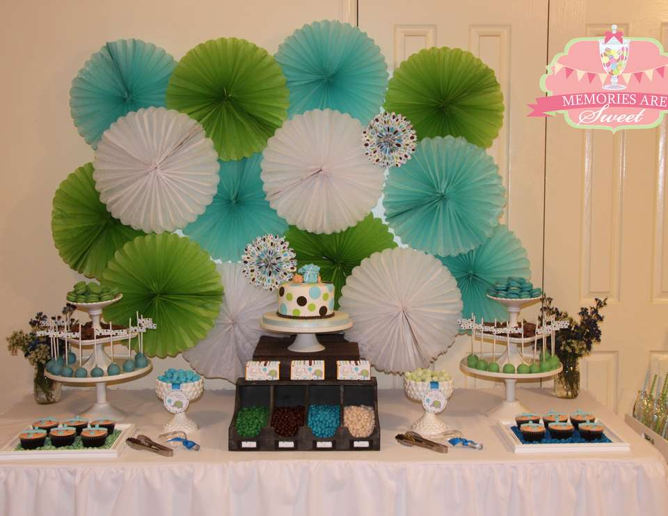 Polka Dot Baby Shower - Brown, Green & Blue Polka Dots