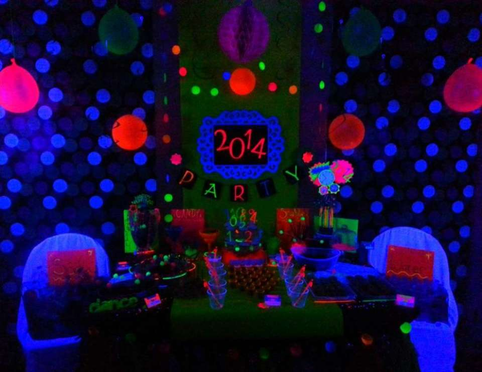 neon new years party black light neon new years