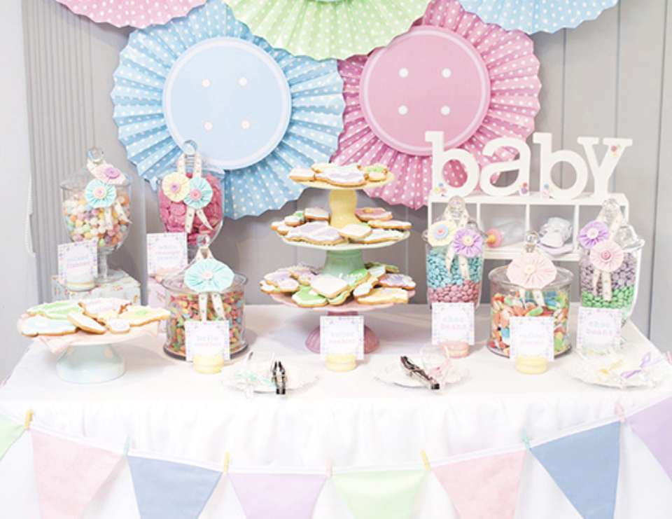 Sara's Cute As A Button Pastel Baby Shower - Cute as a Button