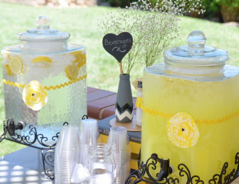 baby shower with yellow and grey accents - grey and yellow