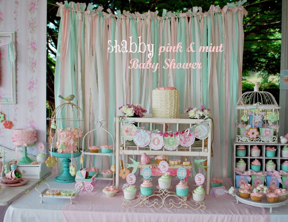 Shabby Pink And Mint Baby Shower Baby Shower Its A Girl Thing
