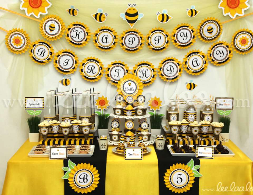 Smiling Bumblebee Birthday Party Theme
