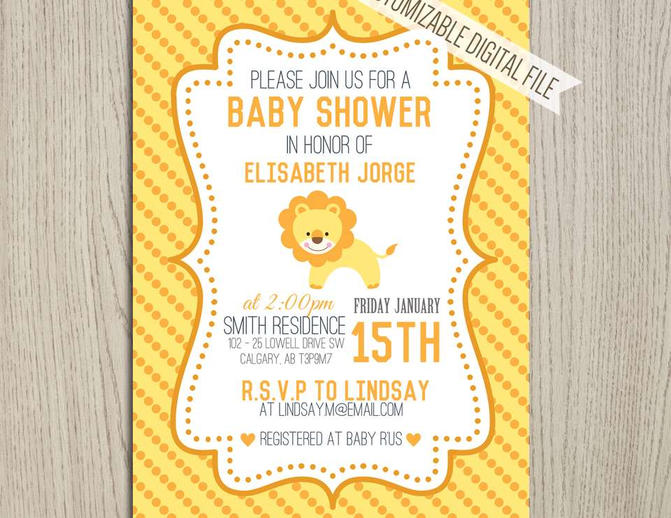 lion savana baby shower yellow lion savana polkadot invitation
