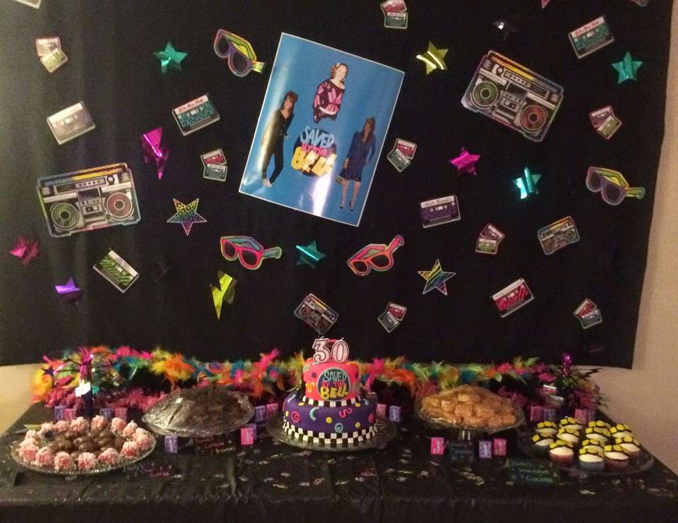 Saved by the bell 30th birthday party 1980s 1990s for 90 s decoration ideas