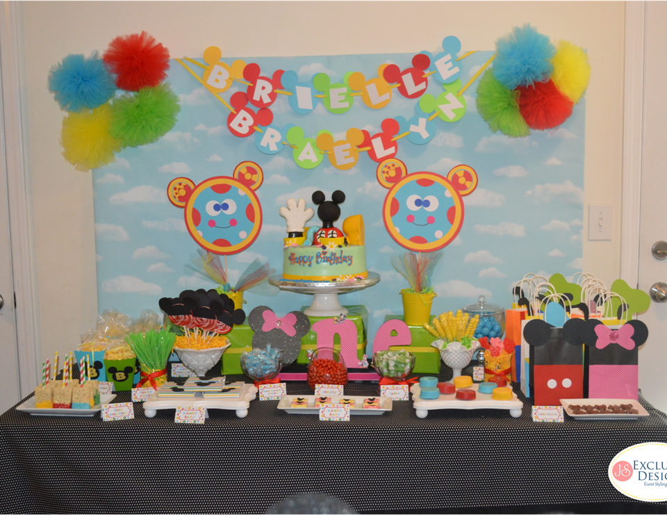 Twins Mickey Mouse Clubhouse 1st Birthday Party