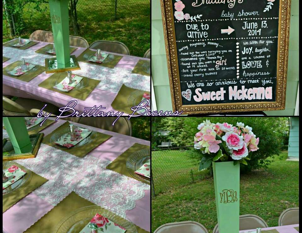 Pink Mint Green And Gold Baby Shower Brittanys Backyard Garden