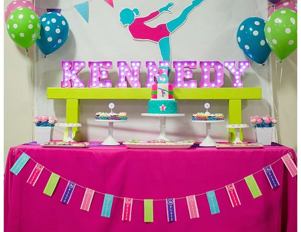 A Bright & Colorful Gymnastics Party - Gymnastics