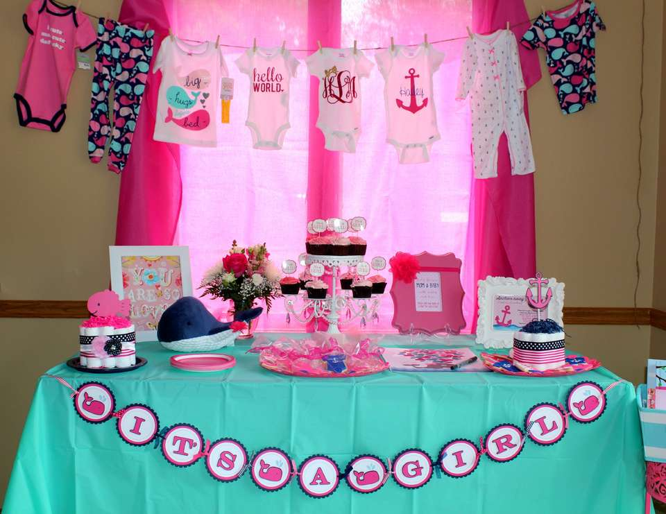 Nautical Baby Girl Shower  - Nautical/Whale