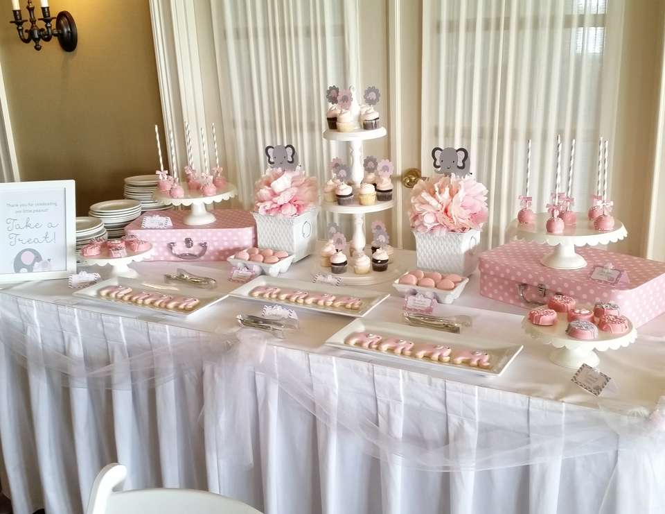 Pink And Gray Elephant Baby Shower   Pink And Gray Elephant