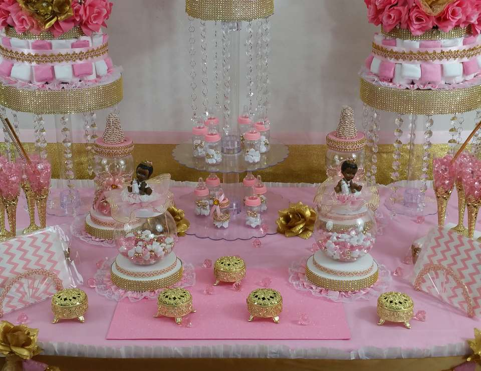 Princess Baby Shower Pink And Gold Baby Shower Candy Buffet
