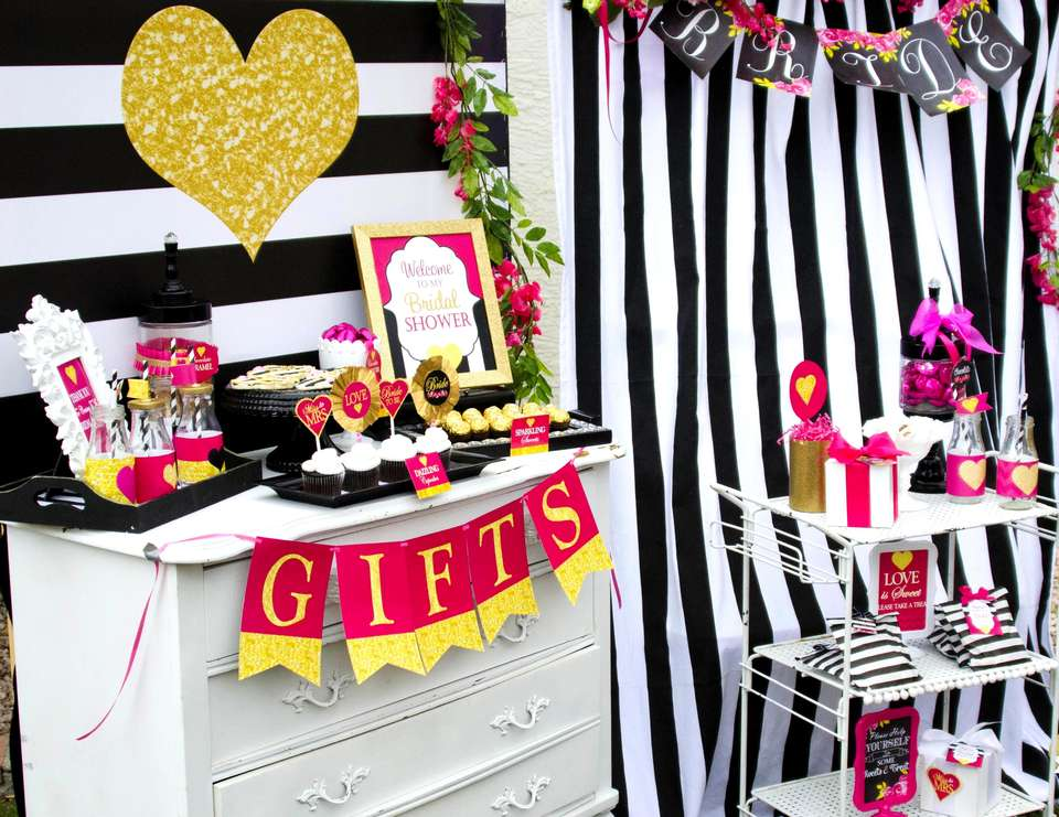 Black and White Striped Shower - Pink Black and White