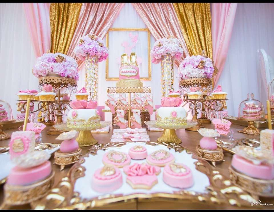 Blush and gold baby shower - None