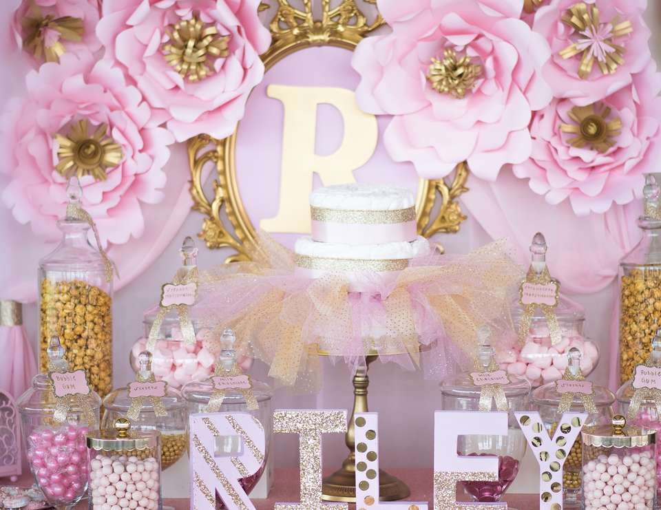 Princess Baby Shower Pink And Gold Baby Shower For Princess Riley