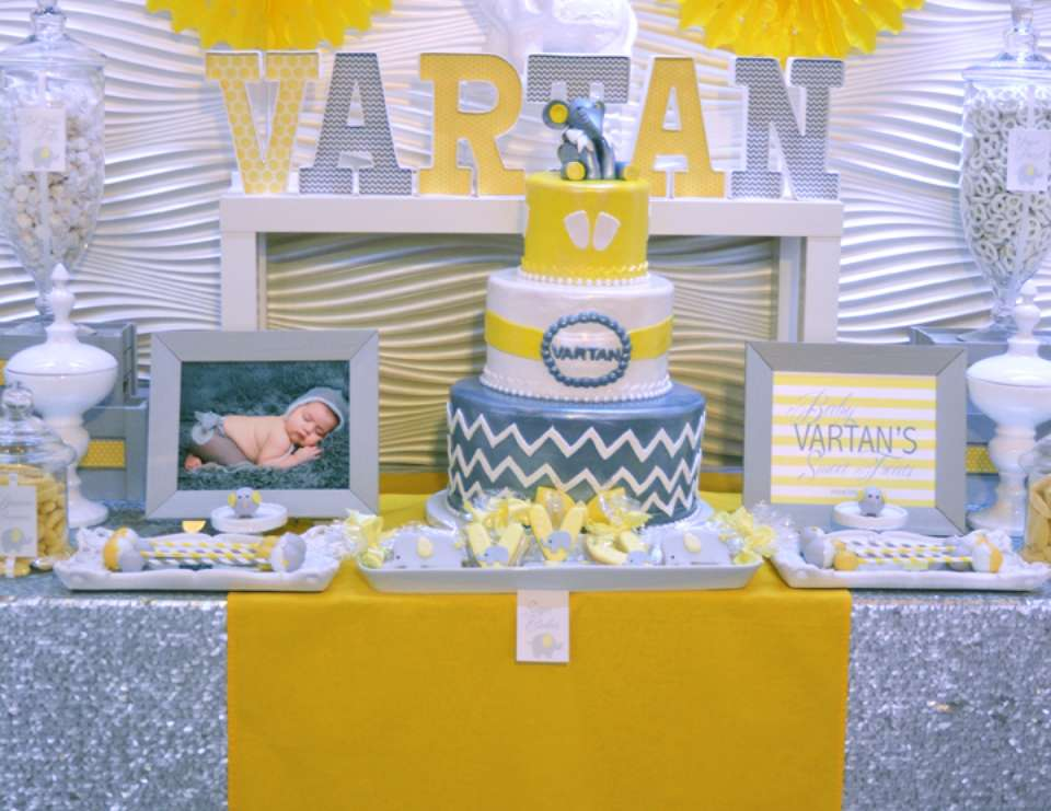 Yellow & Gray Elephant Welcome Baby Party - Baby Elephant