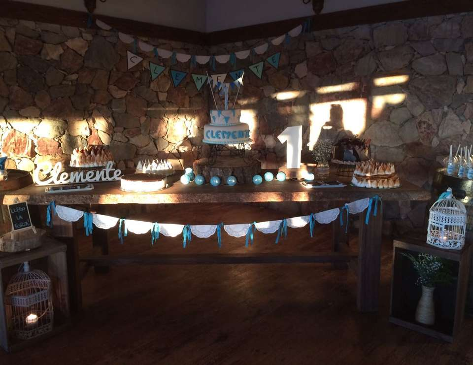 Rustic Boy Birthday  - Rustic Blue and turquoise
