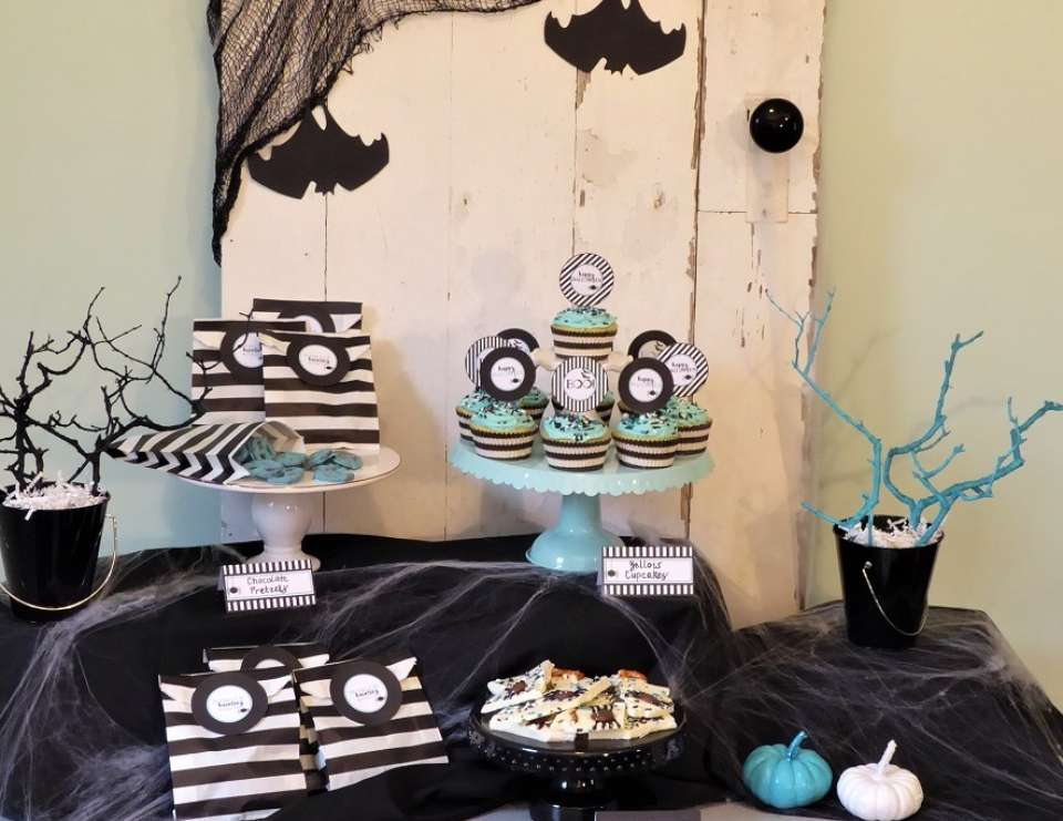 Modern Halloween Party For Kids - Modern Aqua and Black
